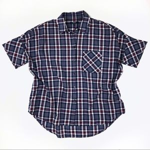 Madewell courier shirt dekalb plaid red white blue